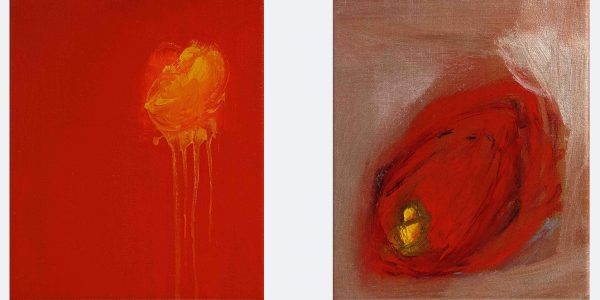 """L: Today I Am, 2002.  R: Bud, 2002. Both: Oil on canvas, 305 x 255mm (12 x 10"""")."""