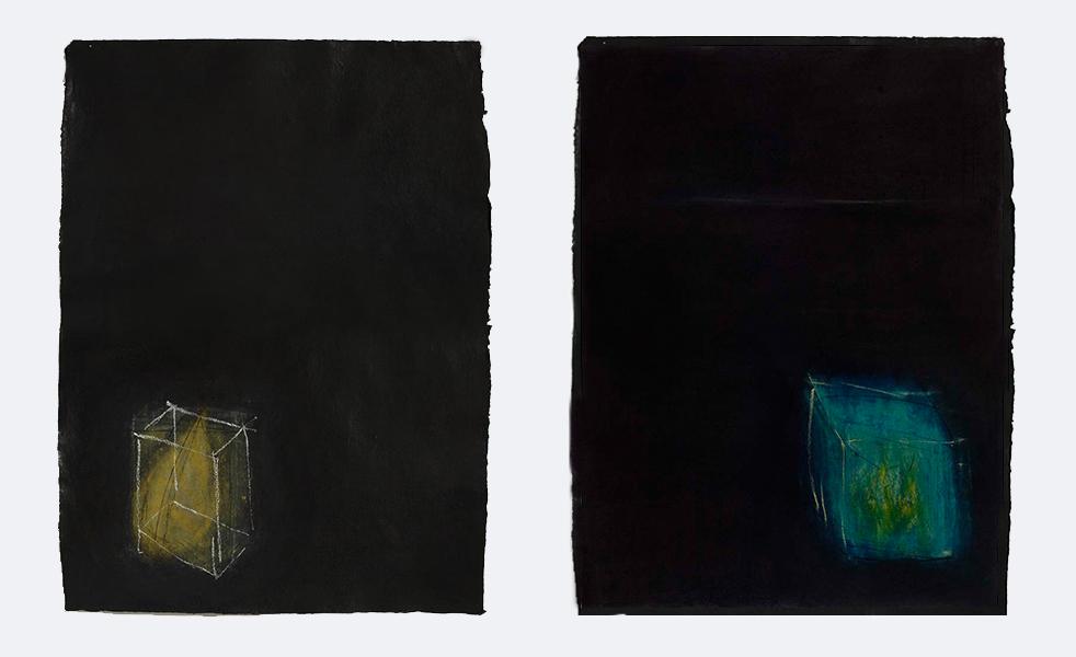 "Breath IV & V,  2006.  Charcoal & pastel on handmade cotton rag. Each 762 x 534 mm (30 x 21"")"