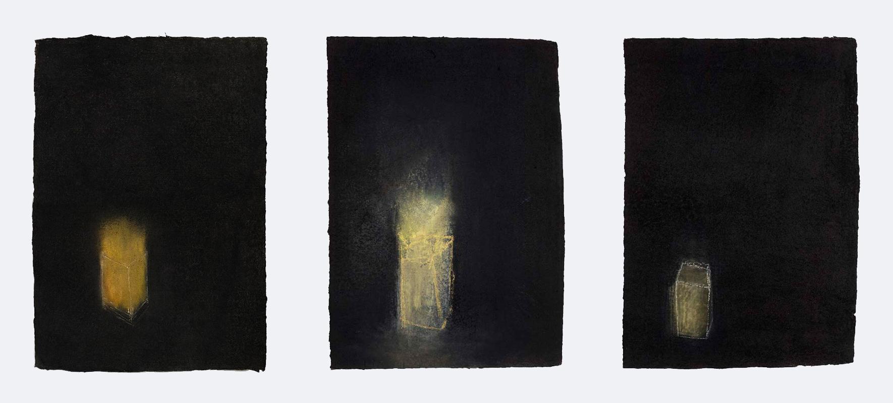 "Breath I, II & III, 2005. x 3 Charcoal & pastel on handmade khadi rag. Each drawing 590 x 380 mm (23 x 15"")"
