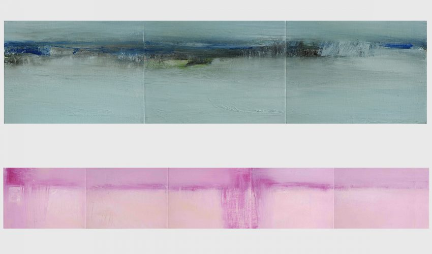 "Top: Marsh Thaw. Oil on canvas, 150 x 610 mm (6 x 24"").  Bottom: Bleak Midwinter II. 150 x 1040 mm (6 x 41"")."