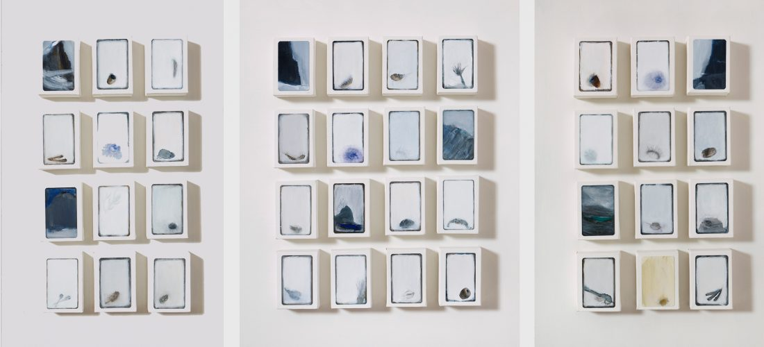 """Stains and Guts, 2009.   40 canvas blocks arranged in 3 parts, mixed media on playing cards. (Each block 102 x 78mms/4 x 3"""")."""