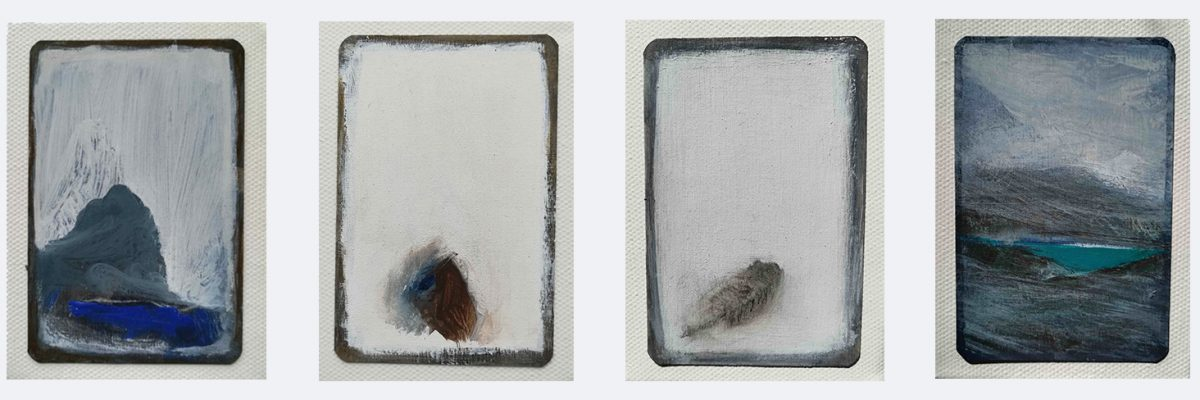 """Stains and Guts, 2009. Details showing 4 of the 40 canvas blocks. Mixed media on playing cards.(Each block 102 x 78mms/4 x 3"""")."""