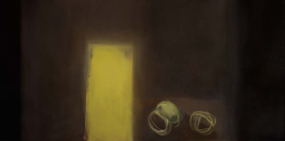 "Still Life with Eggshell, 2006. Oil on Linen, 1250 x 2500 mms (49.25"" x 98.5"")"