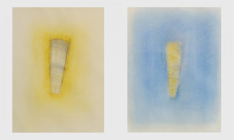 "Whispers I & II, 2002. Mixed media on paper, 585 x 465mm (23 x 18.5"")"