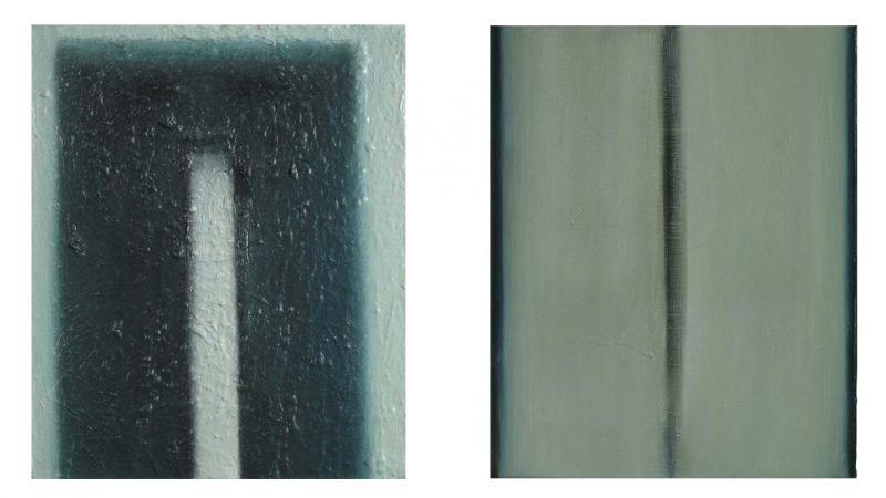 "Left: Slab, 2007. Oil on canvas, 470 x 390mm (18.5 x 15.5"").    Right: Bluestone, 2004. Oil on canvas, 410 x 330mm (16 x 13"")."