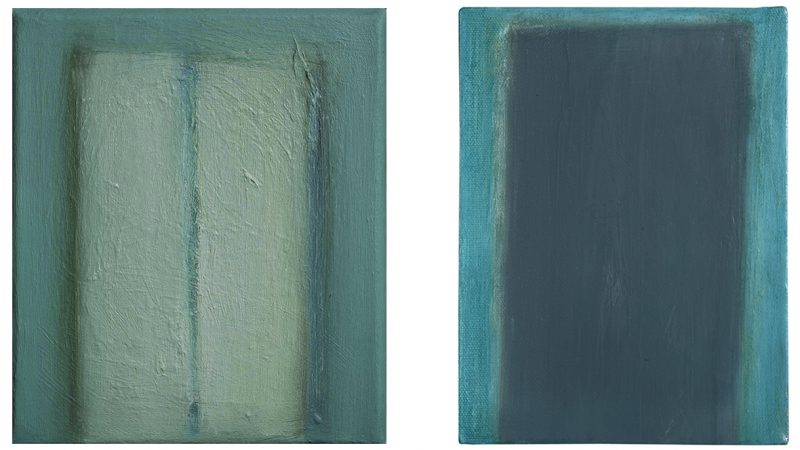 "Left: Henge, 2004. Oil on canvas, 305 x 254mm (12 x 10"").   Right: Slab II, 2007. Oil on canvas 305 x 215mm (12 x 8.5"")."