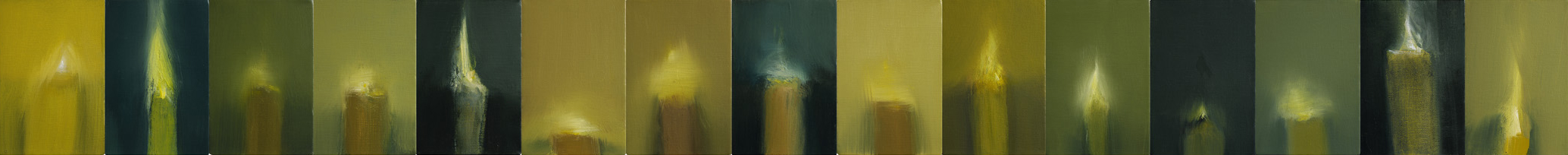 "Vanitas I & II, 2008. Oil on 15 canvas blocks, 152 x 1550mm (6"" x 61"")"