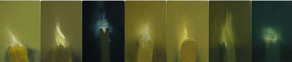 "Vanitas III, 2008. Oil on 7 canvas blocks, 152 x 715mm (6"" x 28"")"