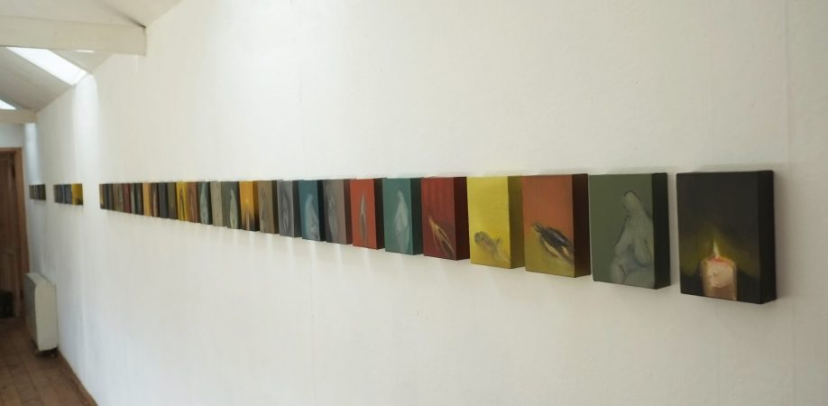 Looking Glass, oil on 28 canvas blocks. A single sequence out of 40 that form Into the Holloway, 2017.