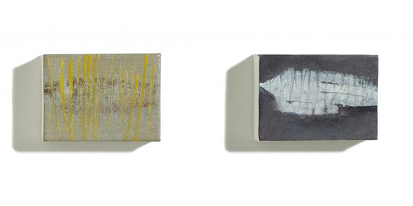 "Migrant, 2003. Details, blocks 3 & 4. Mixed media on canvas block, each: 76 x 102mm (3 x 4"")"
